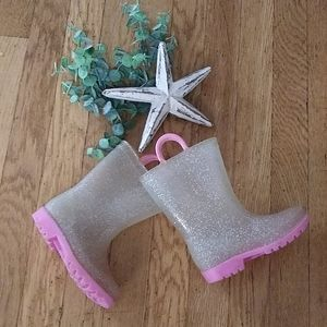 Sparkly pink and clear rain boots